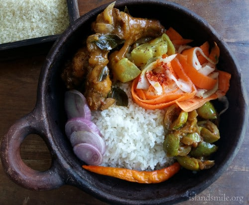 A meal in a bowl, Rice, Yellow Cucumber cooked in coconut milk, Dry Thai egg-plant curry, a salad of carrot ribbons, chicken drumsticks baked and cooked in a gravy with Srilankan spices.-500