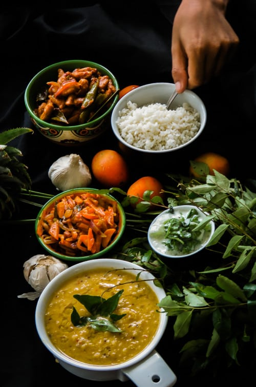 A dish of rice, dhal curry or as we Srilankans love to call it-Parippu-, spicy, tempered carrots, Soya curry and a Cilantro, Cucumber in Yoghurt salad are todays dishes on our Thirteenth Monday Bowl.-2