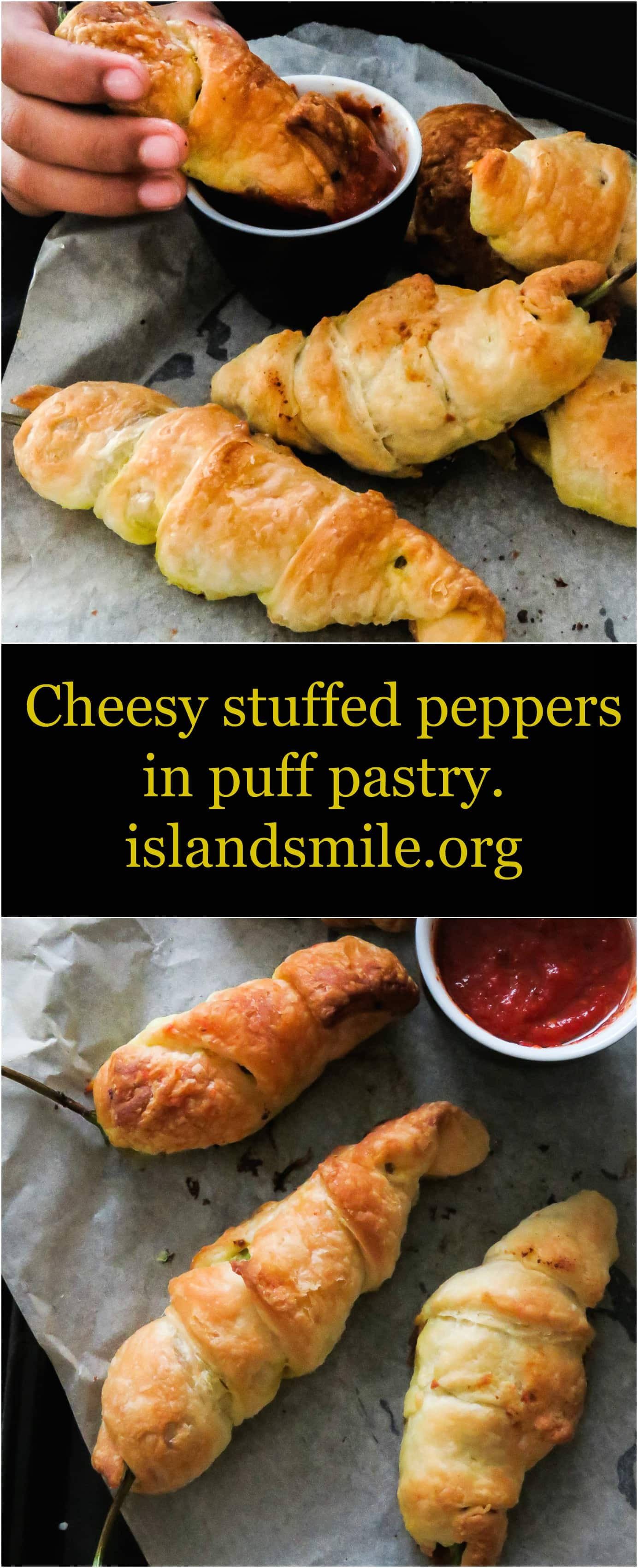 cheesy stuffed peppers in puff pastry