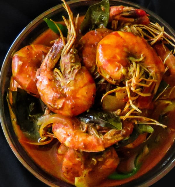 Srilankan prawn curry cooked in coconutmilk