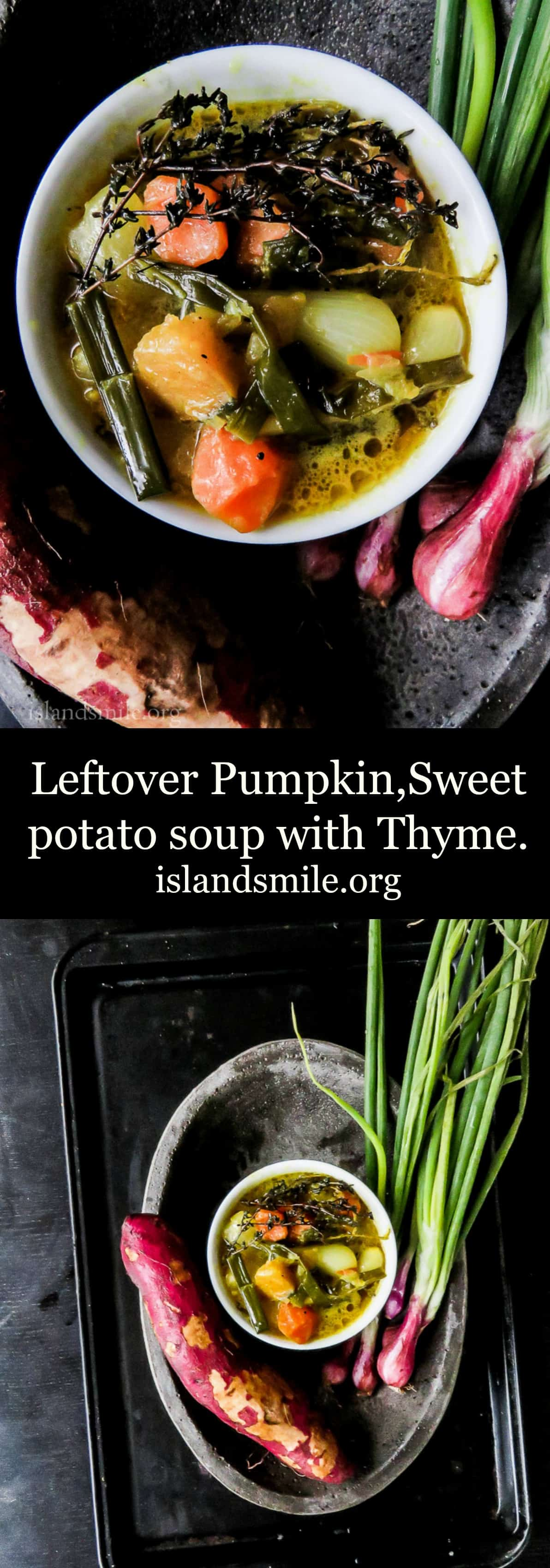 Left over sweet potato, pumpkin soup with thyme image