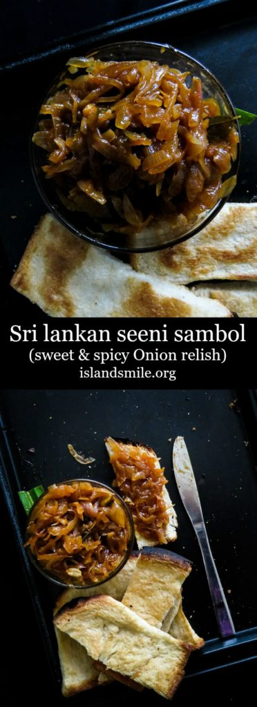 Sri lankan seeni sambol( sweet and spicy caramalised onion relish)