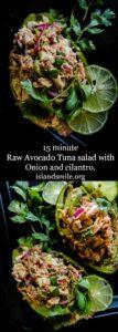Raw Avocado Tuna salad with Onion and cilantro-islandsmile.org