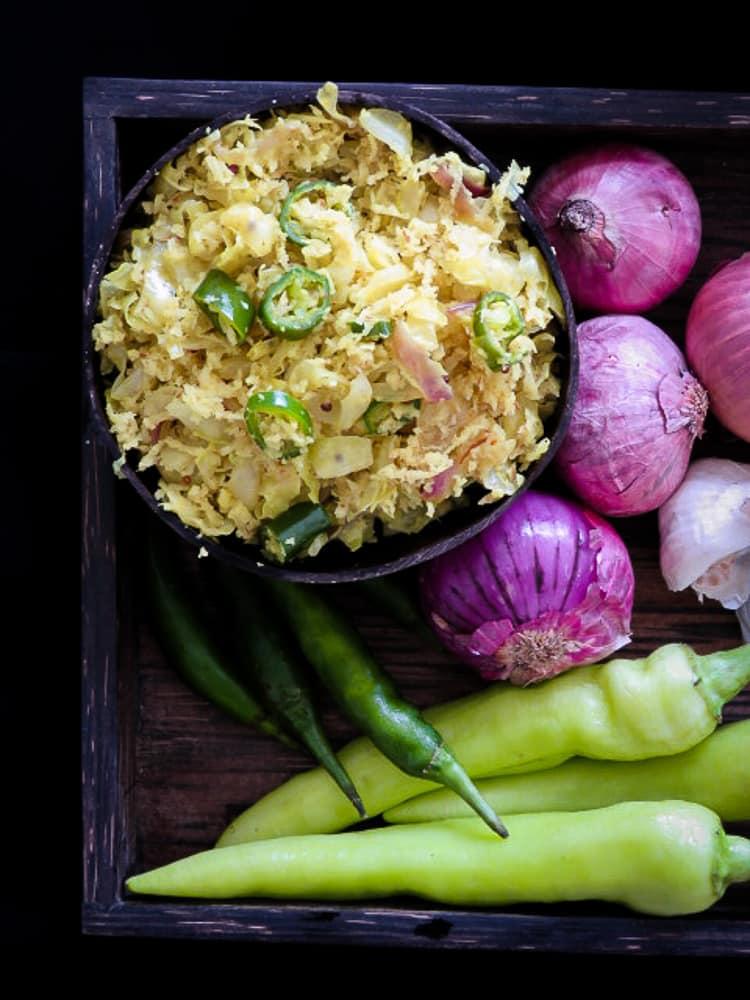Cabbage and coconut sambol(sri lankan gova mallum)-islandsmile.org