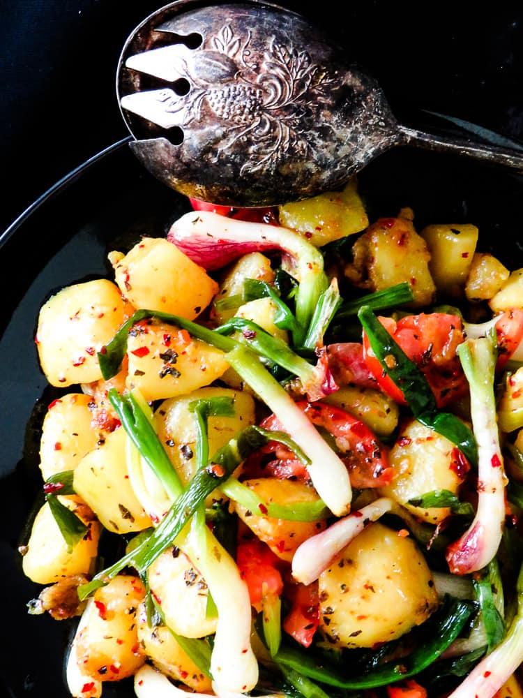 Potato, spring Onion Basil chilli stir-fry-islandsmile.org