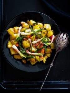 Potato, spring Onion Basil chilli stir-fry-islandsmile.org