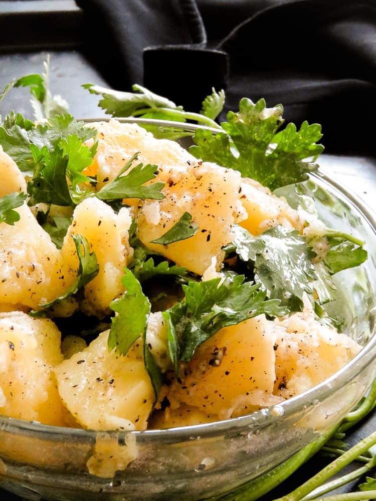 garlic-olive oil potato salad-islandsmile.org