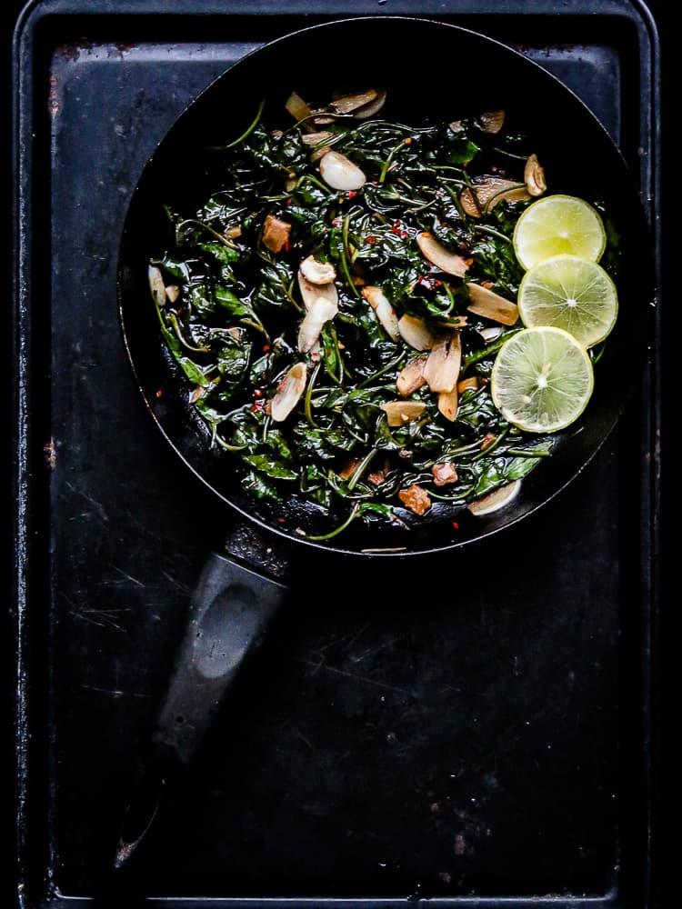 Easy garlic kankung(water spinach)stir-fry with garlic-islandsmile.org