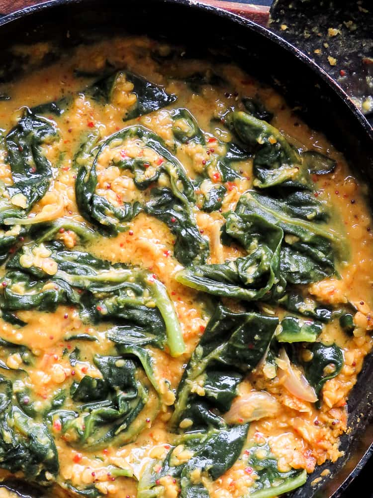tempered lentils and spinach curry(dhal) -islandsmile.org